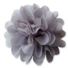 10cm Pompom Bloom GREY Fabric Flower Applique